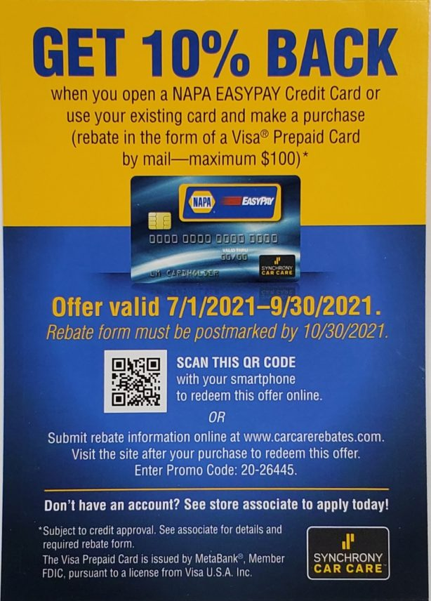 Get 10% Back when you use your Synchrony Car Care card